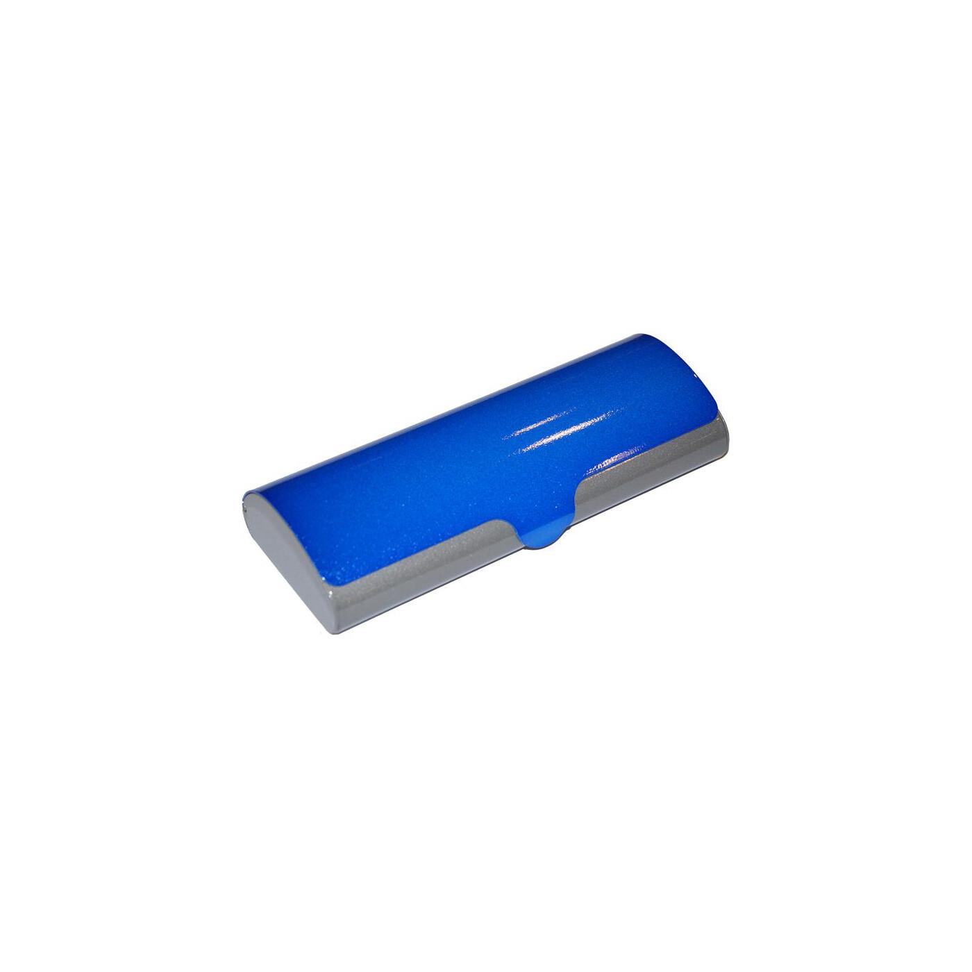 Zweifarbiges Aluminium Brillenetui SUSI Blau-grau, 11,95